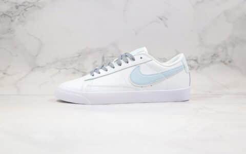 耐克Nike Blazer Low公司级版本开拓者低帮皮面板鞋白灰蓝色3M反光原楦开发 货号:454471-012