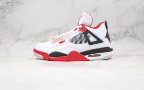 """乔丹Air Jordan 4""""Fire Red""""纯原版本AJ4白红赛车原厂头层皮原盒原标 货号:308497-110"""