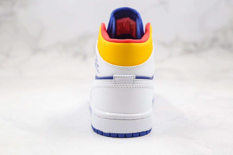 乔丹Air Jordan 1 Mid Euro Tour纯原版本中帮AJ1白蓝黄色篮球鞋原档案数据开发原盒原标 货号:554724-131