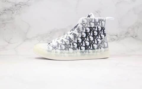 匡威Converse chuck x Dior纯原版本迪奥联名款高帮水晶底帆布鞋白黑色原档案数据开发原盒原标