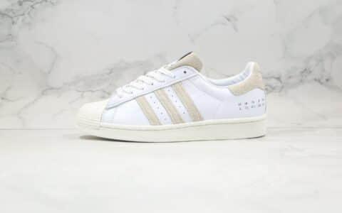 阿迪达斯Adidas Originals Superstar Superstar纯原版本三叶草贝壳头50周年白水泥米白灰色板鞋原盒原标 货号:FY0038
