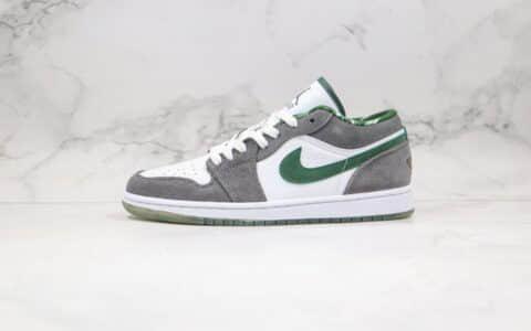 乔丹Air Jordan 1 low纯原版本低帮AJ1灰绿色麂皮配色篮球鞋内置气垫原档案数据开发 货号:309192-131
