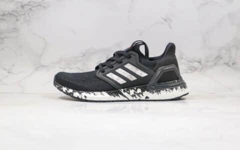 阿迪达斯Adidas Ultra Boost 20纯原版本爆米花跑鞋UB6.0泼墨黑白色内置原厂巴斯夫爆米花缓震大底 货号:EG1342