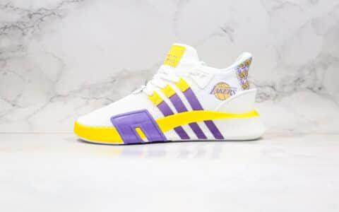 阿迪达斯Adidas EQT BASK ADV纯原版本科比纪念款湖人队主题配色三叶草EQT支撑者系列慢跑鞋白黄紫色 货号:FU9411
