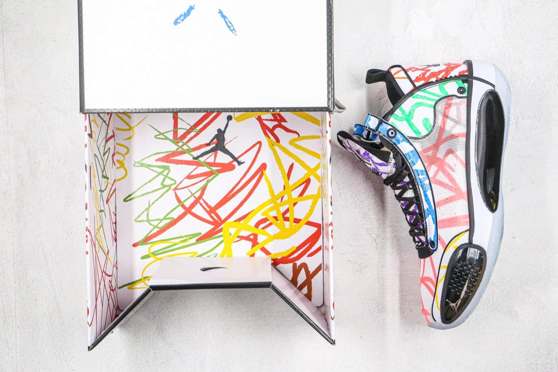 乔丹Air Jordan 34 PE x Zion Williamson纯原版本新科状元联名款AJ34涂鸦彩绘配色内置气垫支持实战 货号:DA1897-100