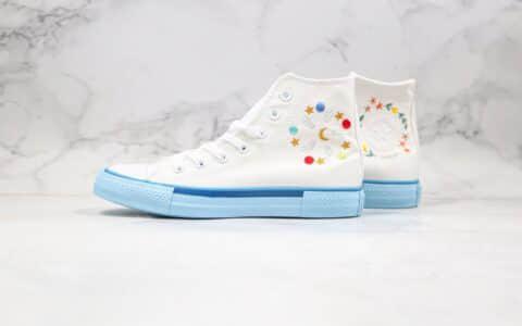 匡威Converse All Star公司级版本小红书爆款高帮帆布鞋花卉刺绣白蓝色原装铝楦数据开发 货号:567993C