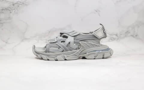 巴黎世家Balenciaga 4.0魔术贴凉鞋灰色夏季新款纯原版本原鞋开模一比一打造