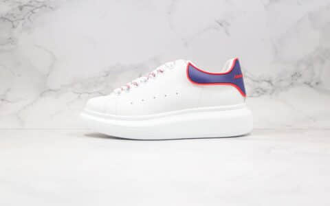麦昆Alexander McQueen纯原版本厚底小白鞋蓝尾红边胶片松糕鞋档案数据开发原盒配件齐全