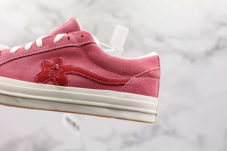 匡威Creator x Converse One Star Ox Golf Le Fleur公司级版本TTC小花联名麂皮板鞋粉色原盒蓝底 货号:160325C