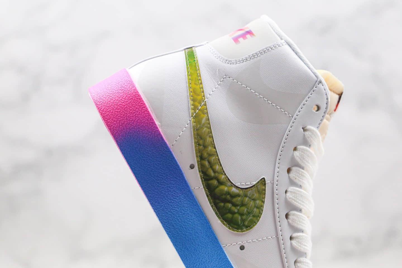 耐克NIKE BLAZER LOW The New Way纯原版本中帮开拓者炫彩白彩虹紫光灯配色板鞋原楦头纸板打造 货号:CZ8653-136