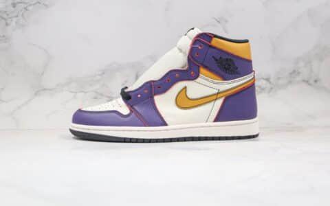 乔丹Nike SB x Air Jordan 1 Retro High OG Court Purple纯原版本高帮AJ1湖人刮刮乐SB联名款紫金色原盒配件齐全 货号:CD6578-507