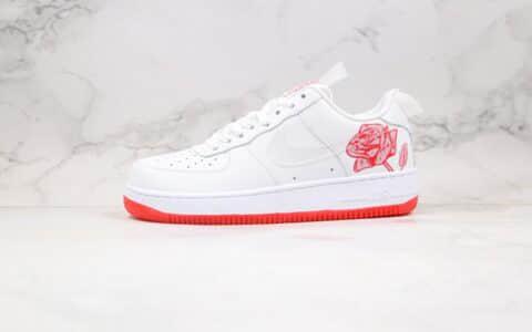 耐克Nike Air Force 1 Satin Rose纯原版本低帮空军一号白红玫瑰板鞋原鞋开模一比一打造 货号:CN8534-100