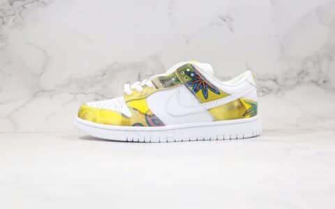 耐克Nike Dunk Low Pro SB De La Soul1纯原版本低帮SB DUNK板鞋太阳花向日葵涂鸦白黄绿色原楦头纸板打造 货号:304292-171