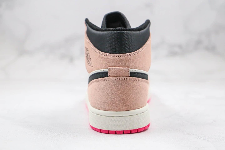 乔丹Air Jordan 1 Mid SE Crimson Tint纯原版本中帮AJ1脏粉麂皮黑粉脚趾篮球鞋原档案数据开发原盒原标 货号:852542-801