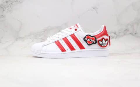 阿迪达斯Adidas Originals Superstar纯原版本三叶草贝壳头板鞋七夕情人节限定白红色爱心魔术贴原盒原标 货号:FY3117