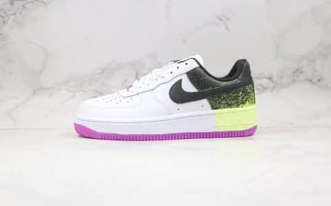 耐克Nike Air Force AF1 Splatter纯原版本低帮空军一号泼墨白黑绿紫色板鞋内置全掌Sole气垫 货号:CZ8097-100