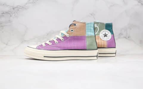 匡威CONVERSE Chuck 70s公司级版本高帮格子解构彩虹色拼接硫化帆布鞋原厂硫化大底 货号:166317C