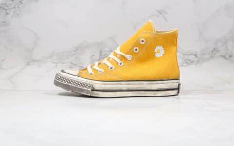 匡威CONVERSE x PEACEMINUSONE公司级版本权志龙联名款小雏菊高帮黄色做旧帆布鞋原档案数据开发 货号:162054C