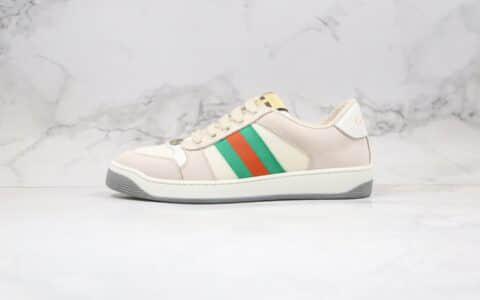 古驰Gucci Distressed Screener Sneaker纯原版本余文乐同款复古做旧老爹鞋原档案数据开发正确鞋面材质细节
