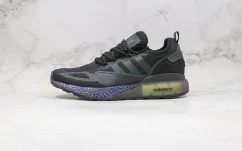 阿迪达斯Adidas Originals ZX 2K Boost纯原版本易烊千玺同款爆米花缓震跑鞋黑荧光绿色原鞋开模一比一打造 货号:FV7479