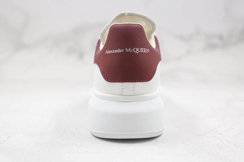 亚历山大Alexander McQueen纯原版本麦昆酒红丝绸牛皮尾厚底增高小白鞋原盒配件齐全