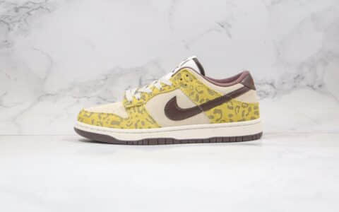 耐克Nike Dunk Low PRM Medium Curry纯原版本低帮SB DUNK动物园主题系列美洲豹配色板鞋内置Zoom气垫 货号:DD1390-100