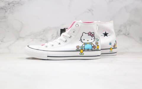匡威Converse x Hello Kitty联名款公司级版本高帮kitty猫2.0帆布鞋原盒原标原楦头纸板打造 货号:164629F