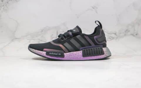 阿迪达斯Adidas NMD R1 Boost纯原版本爆米花跑鞋NMD炫彩黑紫色原厂巴斯夫大底 货号:FV8732