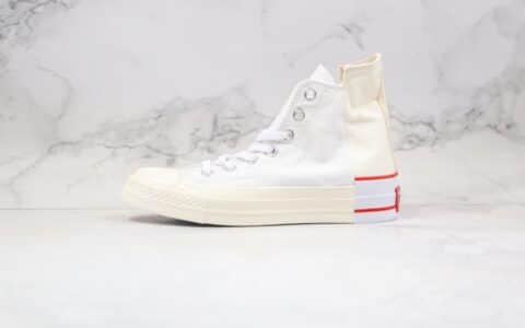 匡威Converse Rivals公司级版本解构错位LOGO混搭白红拼色硫化帆布鞋原盒原标原楦头纸板打造 货号:168671C