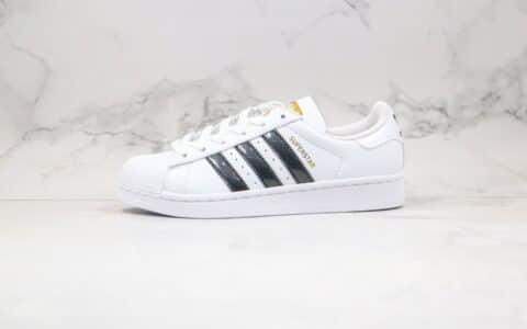 阿迪达斯Adidas Originals SUPERSTAR W纯原版本三叶草贝壳头金标白黑色漆皮LOGO板鞋正确PU硅蓝软中底 货号:EF1627