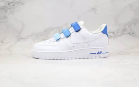 耐克Nike Air Force 1纯原版本低帮空军一号天空蓝魔术贴板鞋内置全掌Sole气垫 货号:898866-008