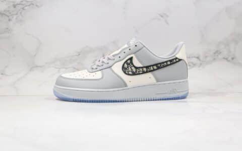 耐克Dior x Nike Air Force 1 '07 LV8迪奥联名款纯原版本低帮空军一号白灰色板鞋原厂蓝色鞋盒 货号:3SN258ZDD