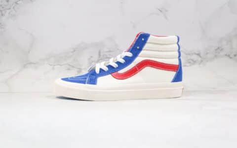 万斯Vans Sk8-Hi公司级版本高帮板鞋白红蓝叮当猫配色一比一硫化工艺