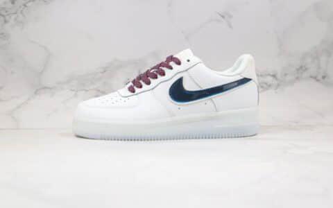 耐克Nike Air Force 1纯原版本空军一号低帮果冻底板鞋白黑蓝色内置气垫 货号:AH0287-208