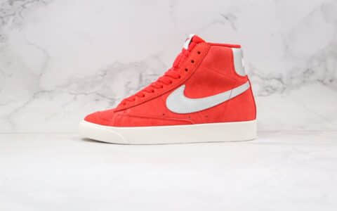 耐克Nike Blazer Mid Vintage公司级版本开拓者中帮翻毛皮板鞋红银色正确硫化工艺 货号:CJ9693-600
