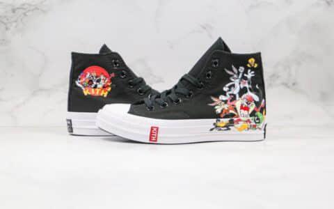 匡威Converse Chuck 1970 x KITH联名款公司级版本高帮兔八哥黑白卡通涂鸦兔斯基鲁尼配色帆布鞋原盒原标 货号:169083C