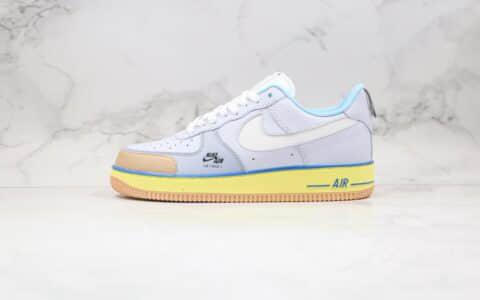 耐克Nike Air Force 1 Premium Blue pot cookies纯原版本低帮空军一号蓝罐曲奇蓝紫黄色板鞋内置气垫 货号:CV3039-102