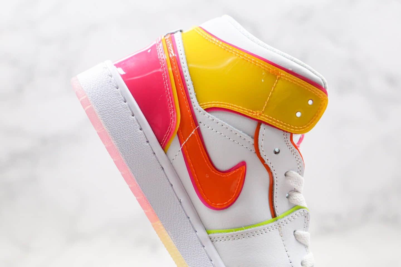 乔丹Air Jordan 1 Mid纯原版本中帮AJ1白黄粉渐变糖果配色篮球鞋原盒原标 货号:CV4611-100