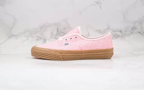 万斯VANS AUTHENTIC公司级版本安纳海姆璀璨星光细闪亮片系列粉色生胶底硫化板鞋原盒原标 货号:VN0A38EMVK1