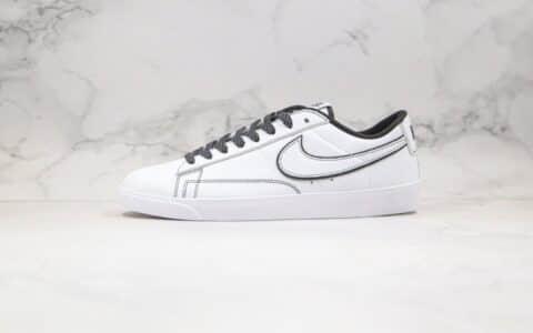 耐克Nike Blazer Low纯原版本低帮开拓者皮面3M反光白黑色原楦头纸板打造 货号:454471-810