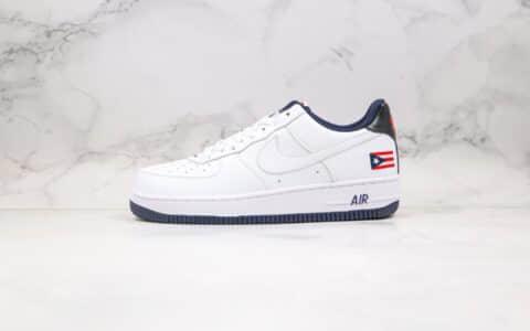 耐克Nike Air Force 1 LoW Puerto Rico纯原版本低帮空军一号波多黎各国旗白黑色板鞋内置气垫 货号:CJ1386-100