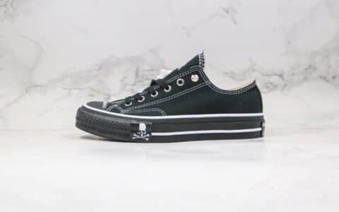 匡威Converse Addict x mastermind JAPAN日本限定ADD骷髅头MMJ联名款公司级版本低帮黑色帆布鞋原厂硫化大底 货号:169075C
