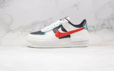 耐克Nike WMNS Air Force 1 Shadow纯原版本低帮空军一号马卡龙解构系列白红蓝色原楦头纸板打造 货号:DA4291-100