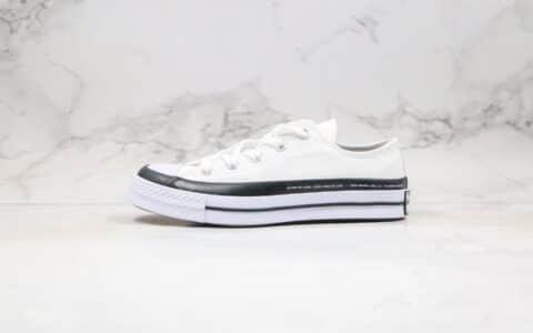匡威CONVERSE x Moncler x fragment design公司级版本低帮藤原浩联名款闪电补丁铭牌缝线白色帆布鞋原盒原标