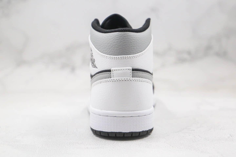 乔丹Air Jordan 1 Mid White Shadow纯原版本中帮AJ1白黑灰篮球鞋正确后跟定型 货号:554724-073