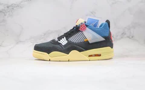乔丹Air Jordan 4 Retro SP Off Noir x Union LA纯原版本洛杉矶联名款AJ4黑蓝红黄色篮球鞋原盒原标 货号:DC9533-001