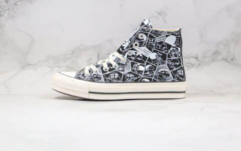 匡威Converse x 蜡笔小新联名公司级版本高帮板鞋涂鸦简笔画黑色原厂硫化 货号:168822C