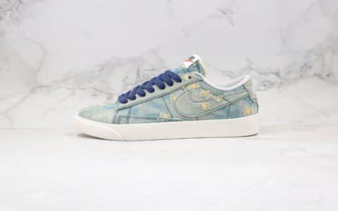 耐克Nike Blazer Mid x Levi's Strauss李维斯联名款纯原版本低帮开拓者破洞牛仔丹宁原鞋开模一比一打造 货号:905345-403