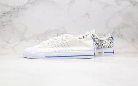 阿迪达斯Adidas Nizza纯原版本校园板鞋白蓝色涂鸦印花原盒原标原鞋开模 货号:FY3090