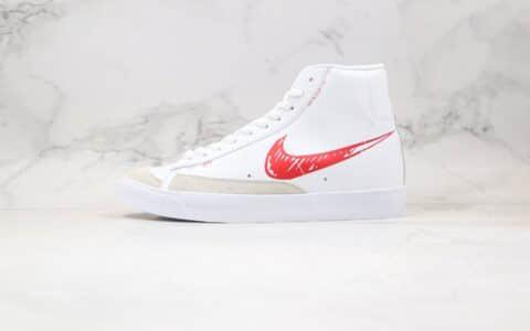 纯原版本耐克中帮开拓者二次元手稿涂鸦白红色板鞋出货